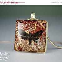 ON SALE: moth scrabble tile pendant,moth photo pendant,moth glass pendants- A0283SP