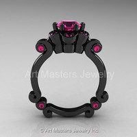 Art Masters Caravaggio 14K Black Gold 1.0 Ct Pink Sapphire Engagement Ring R606-14KBGPS