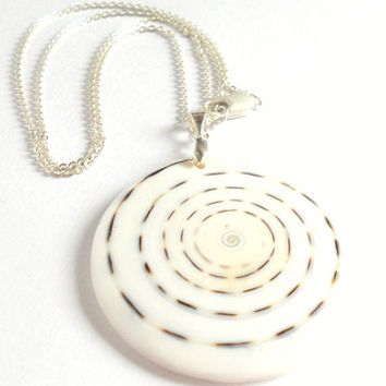 White Shell Pendant Sterling Silver Necklace, Elegant Large Shell Necklace, Nature Inspired, light airy white, sterling silver, gift ideas
