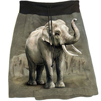 Asian Elephant Photo Tie Dye T-Shirt Skirt