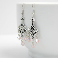 Long Pale Pink and Silver Dangling Chandelier Earrings - Romantic Statement Jewelry - Ready to Ship