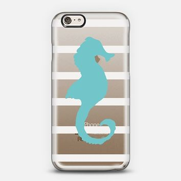 Seahorse Aqua White Stripes (Transparent/Wood) iPhone 6 case by Lisa Argyropoulos | Casetify