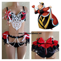 Queen of Hearts women costume, adult costume, rave outfit, rave bra, Nocturnal, Ultra music, festivals, Tomorrowland