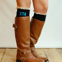 ZTA Zeta Tau Alpha Sorority Boot Socks cable knit boot sock with ruffled ivory lace & sorority letters