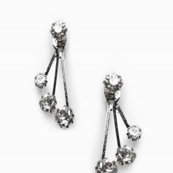 RHINESTONE SUSPENSION DROP EARRINGS