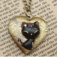 Steampunk Cat Locket Necklace Vintage Style Original Design