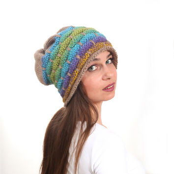 Slouchy Beanie Hat, Colorful Slouch Hat, Tribal rasta oversized by Solandia, Knitted Wool Winter Hat, purple, green, teal turquoise on beige