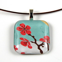 Smooth Glass Tile Pendant with Cherry Blossom Motif on a Brown Wire Necklace