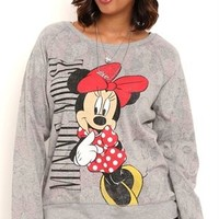 Plus Size Long Sleeve Reversible Minnie Mouse Top