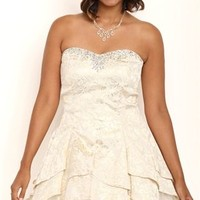 Plus Size Strapless Brocade Print Short Tulip Homecoming Dress