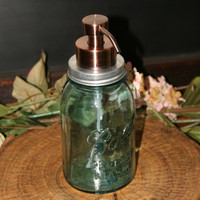 Jumbo Foamer - Mason Jar Foaming Soap Dispenser with Copper Pump - Quart Jar Lotion Bottle - Mason Jar Foamer Dispenser