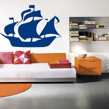 Pirate Ship Wall Decal  - Home Decor - Living Room - Bedroom - Kids Room - High Quality Vinyl Graphic