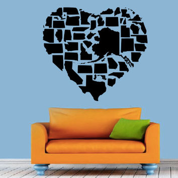 United States Heart Wall Decal - States Heart Map - Love -  Home Decor - Living Room - Bedroom - Office - High Quality Vinyl Graphic
