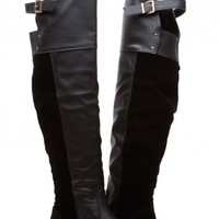 Black Faux Leather Knee High Riding Boots