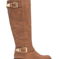 Couplet Of Buckles Faux Leather Boots