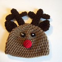 Newborn Reindeer Hat - Crochet Newborn hat - Available In Any Sizes