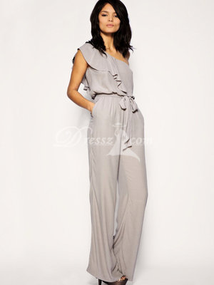 Unique Formal One Shoulder Chiffon Ankle Length Maxi Dress (33CB4DZ)