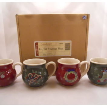 """Set Of 4 Holiday, LONGABERGER """"All The Trimmings Mugs"""" New in Box"""