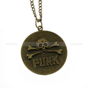 Vintage punk necklace- Antique bronze pirate necklace