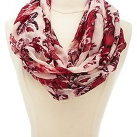 Floral Print Infinity Scarf by Charlotte Russe - Red Combo