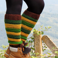 Knitted Legwarmers Green, Brown, Yellow, Knit Boot Cuffs. Knit Leg Warmers, Knee High Socks, Boot Toppers, Stocking, Boot Socks, For Teens