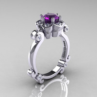Art Masters Caravaggio 14K White Gold 1.0 Ct Amethyst Diamond Engagement Ring R606-14KWGDAM