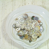 Vintage Variety of Antique Abalone Buttons Collection - Sea Shell Buttons for Repurposing Upscaling Upcycling - 55 Buttons for Sewing Crafts