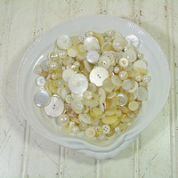 Vintage Variety of Antique Mother of Pearl Buttons Collection - Sea Shell Buttons for Repurposing Upscaling Upcycling - 350 Buttons