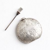 Antique Sterling Silver Perfume Flask Bottle - Vintage Art Deco 1920s Leaf Vine Miniature Round Container with Dabber Wand