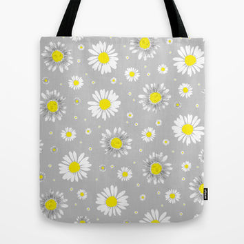 Daisies - Grey Tote Bag by Ornaart | Society6