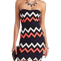TEXTURED CHEVRON STRAPLESS BODYCON DRESS