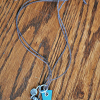 Hand Made Blue Triangle Charm Necklace