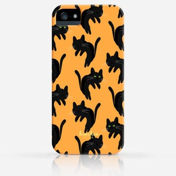 Halloween Spooky Black Cat Orange Gray Purple Pattern iPhone 4 Case, iPhone 4s Case, iPhone 5 Case, iPhone 5s Case, iPhone Hard Plastic Case