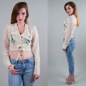 Vintage 70s Embroidered Gauze Crop Top Blouse sheer Indian floral hippie boho keyhole fornt tie cropped long sleeve M