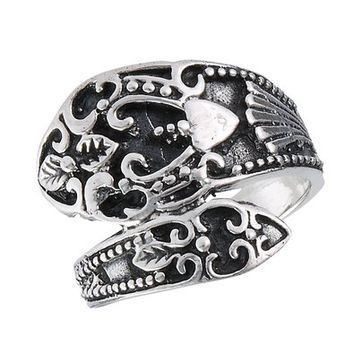 Ladies Ornate Traditional Spoon Style Cast Ring .925 Sterling Silver - Sizes 6-10