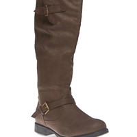 Tall Buckled Rider Boots - Wide Width | Wet Seal+
