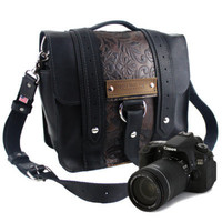 "10"" Black and Brown Paisley Napa Ashbury Leather Camera Bag -"
