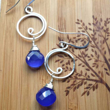 Hawaii Wave Earrings/Wire Wrapped Cobalt Blue Jewelry