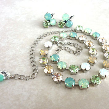 Swarovski crystal opal necklace, green, white, neutrals, 8mm crystal, designer inspired Siggy bling