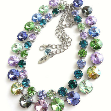 NEW, Swarovski crystal double strand necklace, blue, green, purple, Cool shades,  Designer inspired Siggy bling