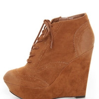 Qupid Worthy 27 Rust Oil Finish Lace-Up Oxford Wedges - $41.00