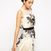 Chi Chi London Floral Organza Layered Skater Dress