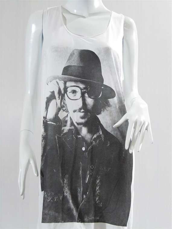 JOHNNY DEPP Tim Burton Movie Star Hollywood Movie Tank Top Tunic Top Tank Shirt Singlet Women Sleeveless Vest Shirt Movie Shirt Size S M