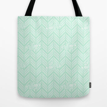 Pastel Mint Chevron Floral Tote Bag by BeautifulHomes