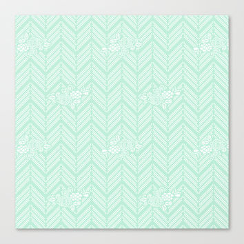 Pastel Mint Chevron Floral Stretched Canvas by BeautifulHomes