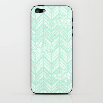 Pastel Mint Chevron Floral iPhone & iPod Skin by BeautifulHomes