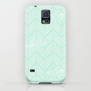 Pastel Mint Chevron Floral iPhone & iPod Case by BeautifulHomes