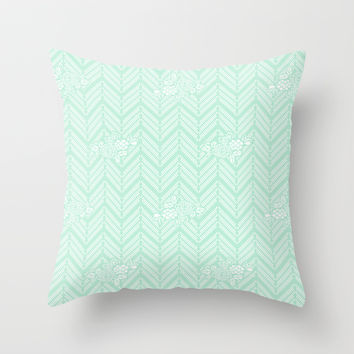 Pastel Mint Chevron Floral Throw Pillow by BeautifulHomes