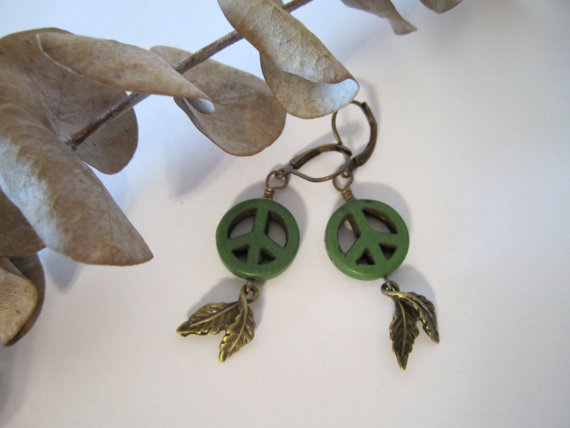 Peace Sign Earrings - Green by 636designs