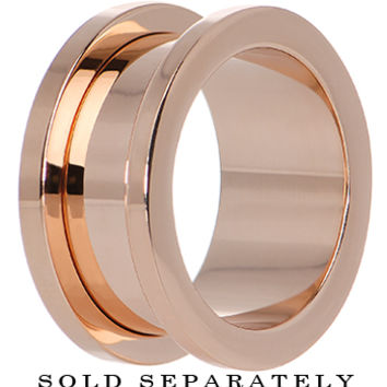 18mm PVD Rose Gold Titanium Screw Fit Tunnel | Body Candy Body Jewelry